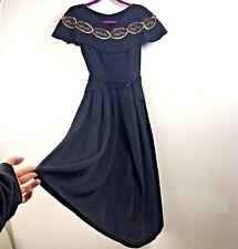 8ba7ed01b1d Vtg 60s Womens XS Dress Black Sleeveless Sequined Embroidered