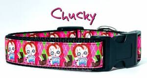 "Chucky dog collar handmade adjustable buckle collar1"" wide or leash Horror pink"