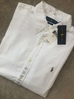 RALPH LAUREN POLO WHITE SLIM FIT L/S SHIRT TOP USA MODEL - LARGE - NEW & TAGS