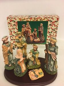 """Christmas Decorations """"a Child Is Born"""" 7 Piece Nativity Set In Box"""