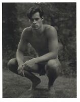 1990 Bruce Weber Nude Male Model Squatting In Wooded Area Art Photo Gravure