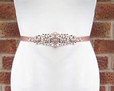 Ivory Pearl Rose Gold Silver Diamante Wedding Dress Belt Crystal Sash Vtg 5496