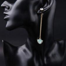 Topshop Gold Long Dangle Crystal Stud 2 in 1 Earrings
