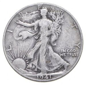 XF+ 1941-D Walking Liberty 90% Silver US Half Dollar - NICE COIN *329