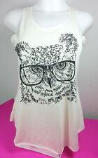 OWL VEST WOMEN WHITE COLOR BLOUSE SHORT SLEEVE SUMMER SIZE L LADY COTTON 100%
