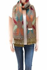 Paisley Pattern Double Layered Woven Multi-Color Pashmina Silky Shawl ScarfWomen