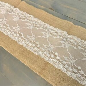 Burlap and White Lace Table Runner Shabby Chic Farmhouse Decor