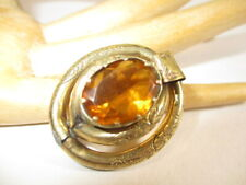 Brooch Pin Faceted Amber Glass Mount Lot 321 -Estate Victorian Gold Filled