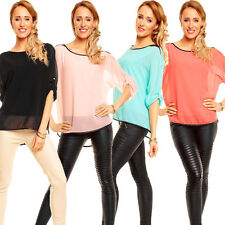Markenlose 3/4 Arm Damenblusen, - tops & -shirts ohne Muster