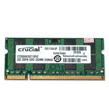 2GB (1x 2GB) Crucial PC2-5300 667Mhz RAM DDR2 Laptop Memory 200-pin CT25664AC667
