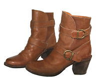 Fiorentini + Baker High Ankle Boots Straps Chestnut Tan Leather $550 Sz 38/US 8