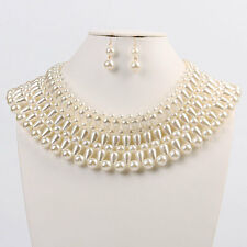 "16"" cream pearl choker collar bib statement layered necklace basketball wives"