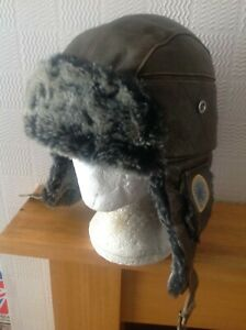 rare Vintage Leather Timberland Aviators Trappers Hat Lge