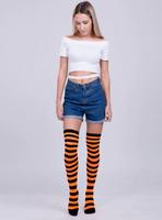 Chaussettes hautes montantes rayées rayures oranges et noires horizontales