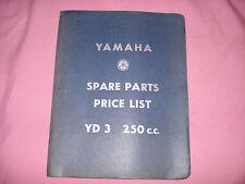 YAMAHA SPARE PARTS  PRICE LIST YD 3 250cc