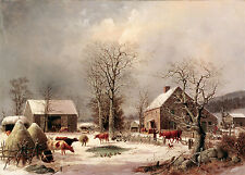 "1858 Artwork, Chickens, Cow, Farm House / Barn Country Scene, 18""x13"" CANVAS ART"