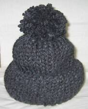 New Handmade Knitted Charcoal Gray Beanie/Ski Hat  L