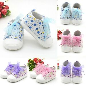Newborn Infant Baby Girl Soft Sole Crib Shoes Anti-slip Floral Sneaker Shoes