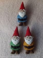 Vestirla Botones ~ Gnomos De Jardín ~ 3 colorido Gnomos