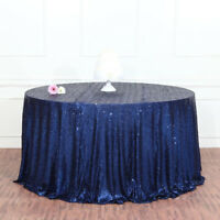 Round Sequins Tablecloth Table Cover Polyester Placemats Banquet Navy Blue
