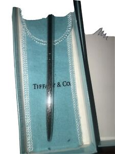 Vintage Tiffany & Co Pen Sterling Silver Diamond Cut Design With Pouch and Box