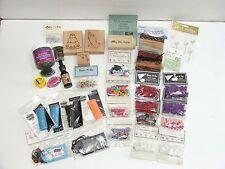 Lot of 32 Asst Scrap Booking Supplies-Embossing Enamel-Stamps-Mesh-Buttons