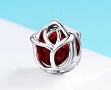 Rose Flower, Red Crystal Charm 100% 925 Sterling Silver Pandora