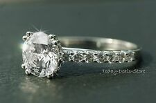 ENGAGEMENT WEDDING PROMISE RING 2.42 CTW ROUND CUT VVS1/ D 14k WHITE GOLD REAL