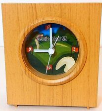 "Bogie Man Quartz ""Golf"" Travel Alarm Clock Golfer Gift Faux Wood Battery Operate"