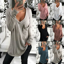 Women Sexy V-neck Long Sleeve T Shirt Loose Pocket Pullover Casual Blouse Tops