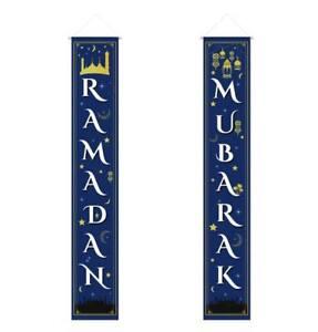 Islamic Holiday Wall Decor | Ramadan Mubarak Long Banner 12x70in | Blue