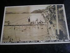 Old postcard sailors pillow fight HMS Delhi near bay of China c1930s