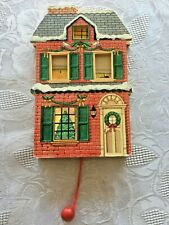 Vtg CTR Floyd Christmas Pull String House Santa in Chimney Family Windows 1990