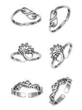 Toe Ring For Women 3 Pair Peacock Solid Sterling Silver Adjustable Leaf Engraved