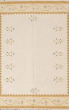 Geometric Kilim Oriental Area Rug Hand-Woven Wool 5x7 Ivory Foyer Modern Carpet
