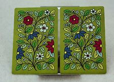 Single Swap Playing Cards. Vintage GREEN FLOWERS. Mid Century 1970s (2 Single)