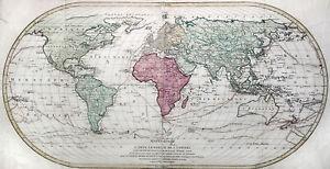 Weltkarte Original Kupferstich Landkarte M.A. Lotter 1782