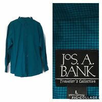 Jos A Bank Mens Size Large Shirt Button Down Collar Long Sleeves Teal Check NWOT