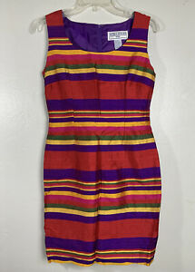 VINTAGE 90s Jessica Howard Womens Silk Rainbow Striped Sheath Dress Size 10 P
