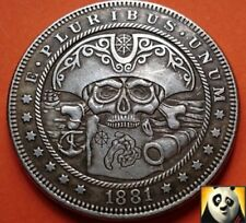 1881 US Silver $1 Dollar Hobo Nickel Pirate Skull and Map Carved Fantasy Coin