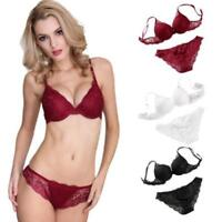 Womens Push Up Bras Set Padded Bra Embroidery Extreme Lace Briefs BH 30-38 A B C