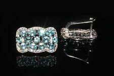 925 Sterlingsilber Ohrringe Weißgold beschichtet Neon Blau Apatit Cubic Zirconia
