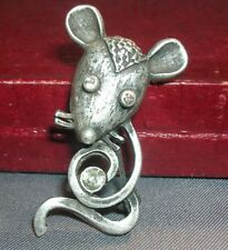 Mouse Metal Pin with Rhinestones, silver tone with rhinestone eyes and on tail