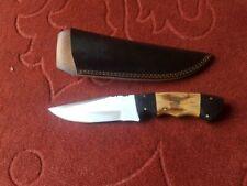"HR 9"" HANDMADE CUSTOM 1095 HUNTING KNIFE WITH WOOD HANDLE AND LEATHER SHEATH"