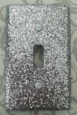 Decorative Metallic Silver Glitter Bling Single Toggle Light Switch Plate Covers
