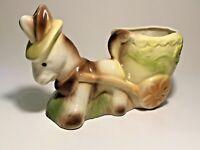 Vintage Mod Era Art Pottery Ceramic Donkey & Cart Planter See pics, Make offer!