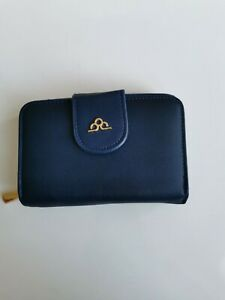 Small Blue Purse Womens Ladies Leather Look Wallet Zip Round Card Clutch Purse