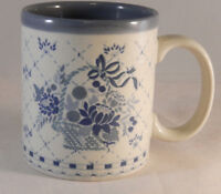 Otagiri Coffee Mug Blue Flowers Blue Basket Floral