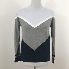 Topshop Gray Blue Black Long Sleeve Sweater Size 2 Cotton Blend Colorblock