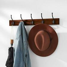 COAT RACK Wall-Mounted Farmhouse Style 5 Standard  Hallway Hooks Light Walnut